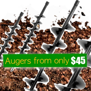 post hole borer auger, 60mm auger, 80mm auger, 100mm auger, 150mm auger, 200mm auger, 250mm auger, 300mm auger, augers from $49 NZ, 52cc post hole borers, 72cc post hole borers